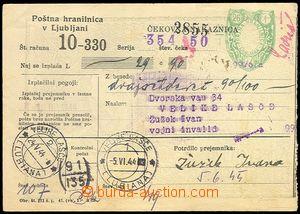 71579 - 1944 YUGOSLAVIA  peněžní poukázka, zasláno ve Slovinsku