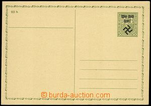 71622 - 1938 RUMBURK  Mi.P7 I., Czechosl. PC CDV65 with overprint Wi