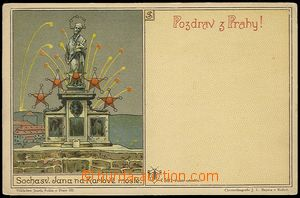 71864 - 1900 Joseph Šváb No. 501, Salute from Prague, statue on/fo