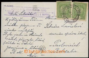 71912 - 1917? postcard with violet postal agency pmk CHVALKOVICE (IV