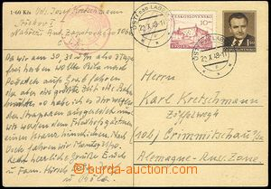 72023 - 1949 CENSORSHIP  CDV Gottwald uprated by. to Germany - Russi