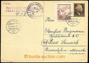 72024 - 1948 CENSORSHIP  CDV Beneš uprated, to Germany - Soviet zon