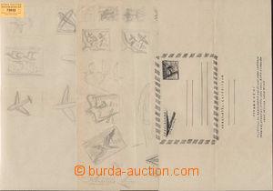 72032 - 1959 rozkresby aerogramů, 3ks listů papíru A4 s kresbami