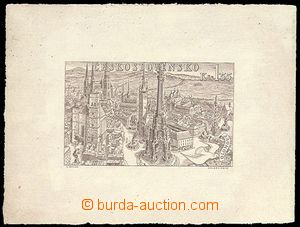 72063 - 1955 PLATE PROOF stamp. Pof.L38, brown on yellowy paper, goo