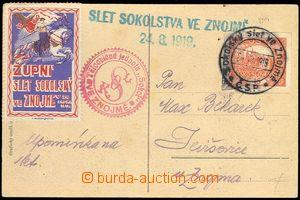 72069 - 1919 postcard to Župnímu festival Sokol Organization in Zn