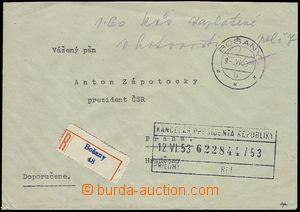 72104 - 1953 Reg letter franked 1,6oKčs cash, CDS BOŠANY/ 9.VI.53,