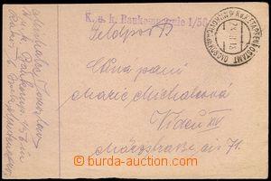 72128 - 1918 provisional FP card, straight line postmark K.u.K.. Bau