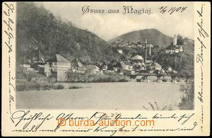 72166 - 1904 MAGLAJ -  B/W view of part town, minarety,  long addres