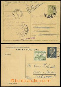 72304 - 1938 2 pcs of PC, 1x Polish with uprated with stamp 10Gr to