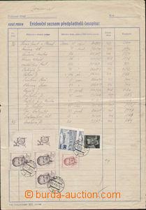 72337 - 1952 printed matter PNS č.211 (Evidence listing předplatit