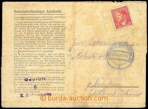 72355 - 1942 KT AUSCHWITZ  zálepka s předtištěným textem, frank. zn.