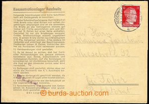 72356 - 1943 KT AUSCHWITZ  zálepka s předtištěným textem, vyfr. zn.