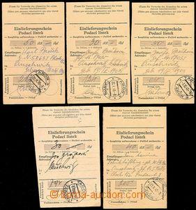 72358 - 1942-43 KT AUSCHWITZ  sestava 5ks podacích lístků na peníze,