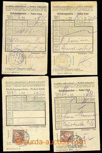 72361 - 1943 KT AUSCHWITZ  sestava 4ks podacích lístků, 2x na R dopi
