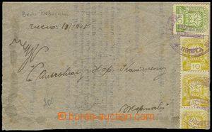 72457 - 1945 větší výstřižek z dopisu vyfr. zn. Mi.3x 81, 83, nouzov