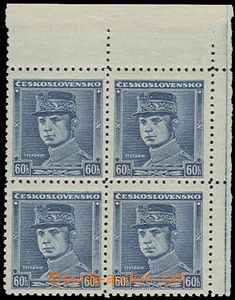 72632 - 1939 Alb.1, blue Štefánik, block of four UR, mint never hing