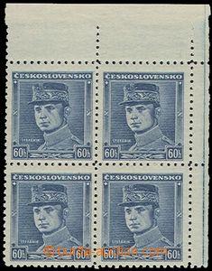 72632 - 1939 Alb.1, modrý Štefánik, 4-blok pravý horní, svěží, mimoř