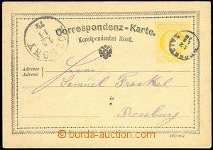 72745 - 1874 dopisnice 2Kr žluťásek s podacím náprstkovým DR P