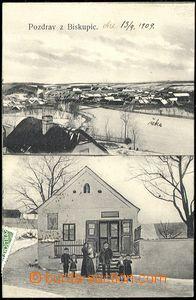 72854 - 1907 BISKUPICE - 2-záběrová, celkový pohled, obchod, lid