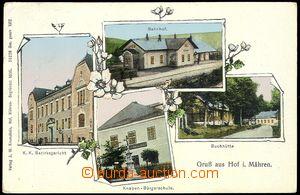 72873 - 1914 DVORCE (Hof) - 4-okénková, nádraží, škola, budovy