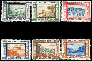 72976 - 1933 Mi.439-44 Zeppelin, stamp. 444 with náznakem vert. fol