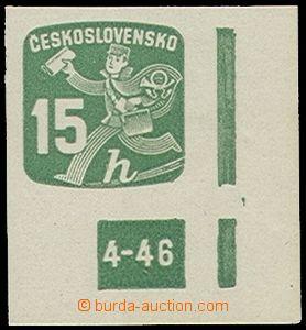 72981 - 1946 Pof.NV25, 15h zelená, pravý dolní roh s DČ 4-46, svěží,