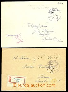 73011 - 1945 comp. 2 pcs of letters with payment postage cash, maili
