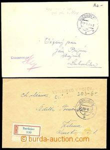 73011 - 1945 sestava 2ks dopisů s úhradou poštovného v hotovosti