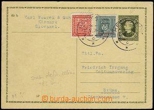 73033 - 1939 CDV2, Hlinka 50h, to BOHEMIA-MORAVIA, uprated with stam
