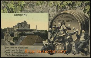 73043 - 1910 CHOMUTOV - color collage, Us, general view, beer drinke