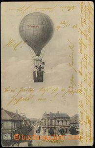 73046 - 1904 PŘEROV - barevná koláž, DA, prošlá,  balón nad h