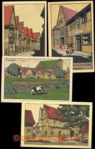73049 - 1915  sestava 4ks uměleckých litografických pohlednic, Br