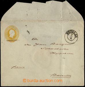 73132 - 1851 postal stationery cover Mi.U3 IB, CDS Wetzlar 7.4., imp