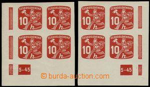 73138 - 1945 Pof.NV24, 10h červená, dolní rohové 4-bloky, pravý a le
