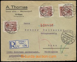 73158 - 1940 Reg letter from Yugoslavia to Czechoslovakia with Mi.39