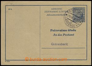 73181 - 1938 CAZ1B, Czech - German text, addressed to post office Gr