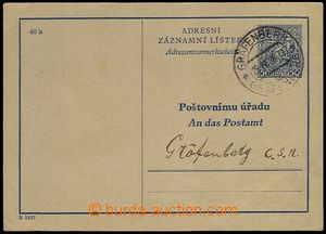 73183 - 1938 CAZ1B, Czech - German text, addressed to post office Gr