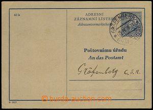 73183 - 1938 CAZ1B, česko - německý text, adresováno PÚ Gräfenberk,