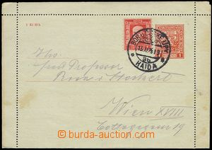 73185 - 1928 CZL2, incl. margins, uprated with stamp Pof.200, CDS BO