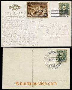 73209 - 1925 sestava 2ks pohlednic, vyfr. zn. Pof.183 Slet, 1x PR Me
