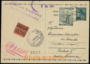 73260 - 1940 CDV4, Ex, uprated with stamp Pof.34, CDS KLATOVY/ 2.8.4