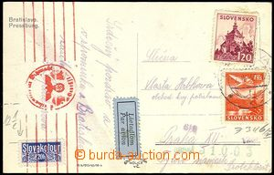 73294 - 1943 postcard Bratislava with Alb.52, L3, by air mail to Pro