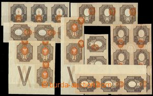 73329 - 1910 Mi.77, comp. 8 pcs of imperforated blocks values 1R wit