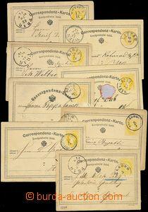 73386 - 1874 sestava 8ks dopisnic žluťásek, Mi.1, 2, různá čes