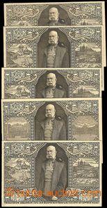 73423 - 1908 FRANZ JOSEPH I., comp. 5 pcs of anniv. Ppc with picture