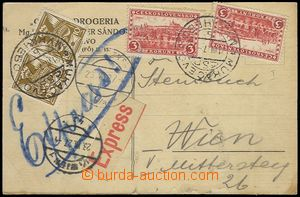 73514 - 1927 commercial special delivery card sent Mukachevo to Vien