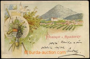 73524 - 1898 MILEŠOVKA - lithography; long address, Us, bumped corn
