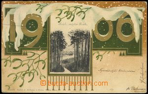 73526 - 1905 PÍSEK - New Year's collage, lithography, gilt; Us, bum