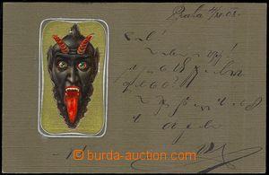 73533 - 1908 čert, litografie, tlačená, zlacená; prošlá, zacho