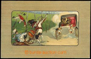 73534 - 1909 car and splašené horses, window lithography, embossed